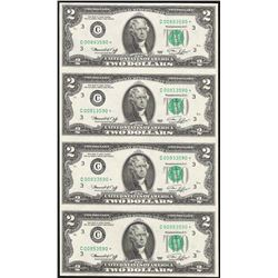 Uncut Sheet of (4) 1976 $2 Federal Reserve STAR Notes