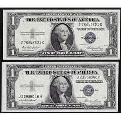 Lot of (2) 1935E $1 Silver Certificate Notes Uncirculated