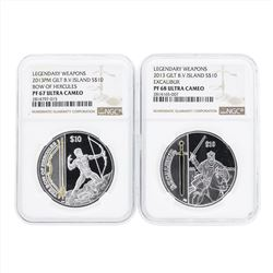 Set of (2) 2013 Gilt British Virgin Island $10 Legendary Weapons Silver Coins NG