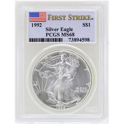1992 $1 American Silver Eagle Coin PCGS MS68