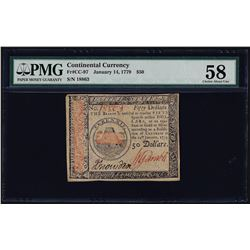 January 14, 1779 $50 Continental Currency Note PMG Choice About Uncirculated 58