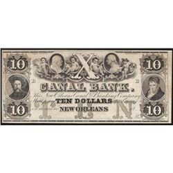 1800's $10 The New Orleans Canal & Banking Company Obsolete Note