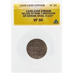 1249-1259 Dirham Seljug of Rum 3 Brothers Coin ANACS VF30