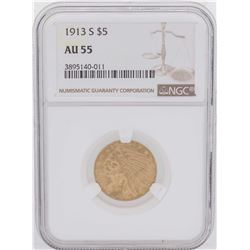 1913-S $5 Indian Head Half Eagle Gold Coin NGC AU55