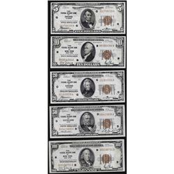 Lot of (5) 1929 Federal Reserve Bank Notes