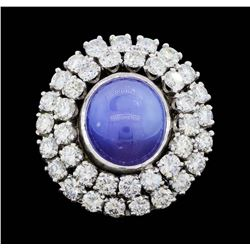 14KT White Gold 8.10ct. Natural Blue Star Sapphire and Diamond Ring