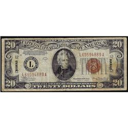 1934A $20 WWII Emergency Hawaii Note