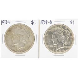 Lot of 1934 & 1934-D $ Peace Silver Dollar Coins