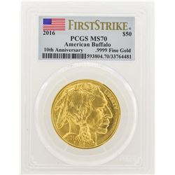 2016 $50 American Gold Buffalo Coin PCGS MS70 First Strike