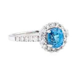 18KT White Gold 2.09ct Blue Zircon and Diamond Ring