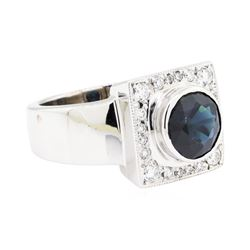 14KT White Gold 2.96ct Sapphire and Diamond Ring