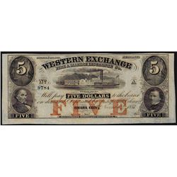 1857 $5 The Western Exchange Omaha City Nebraska Obsolete Bank Note