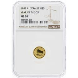 1997 $5 Australia Year of the Ox Gold Coin NGC MS70