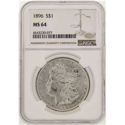 1896 $1 Morgan Silver Dollar Coin NGC MS64