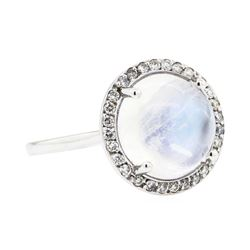 14KT White Gold 4.82ct Moonstone and Diamond Ring