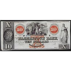 1800's $10 The Hagerstown Bank Obsolete Note