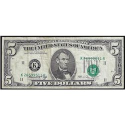 1974 $5 Federal Reserve Note Misaligned Overprint ERROR