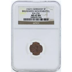 1621 Germany 3F Brunswick-Wolfenbuttel KM-256 Coin NGC MS63BN