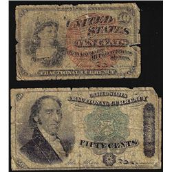 Lot of (2) Fractional Currency Notes