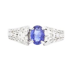 14KT White Gold Ladies 0.87ct Sapphire and Diamond Ring