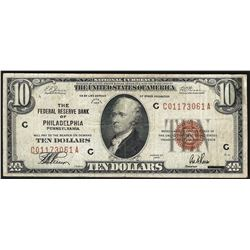 1929 $10 Federal Reserve Bank Note Philadelphia