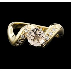 14K Yellow Gold 0.80ct Morganite and Diamond Ring