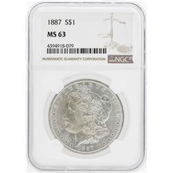 1887 $1 Morgan Silver Dollar Coin NGC MS63