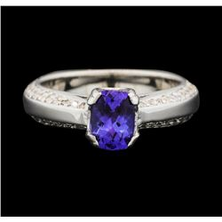 14KT White Gold 0.85ct Tanzanite and Diamond Ring
