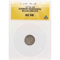 1776 Germany-Regensberg Billion Kreuzer Coin ANACS AU58