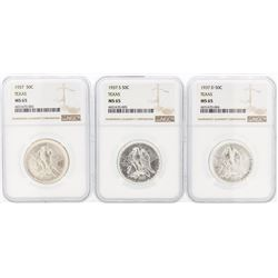 Set of (3) 1937/D/S Texas Commemorative Half Dollar Coin NGC MS65