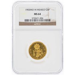 1903MO M Mexico 5 Pesos Gold Coin NGC MS64