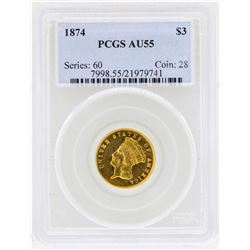 1874 $3 Indian Princess Head Gold Coin PCGS AU55