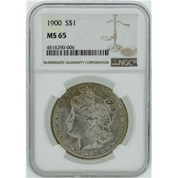 1900 $1 Morgan Silver Dollar Coin NGC MS65