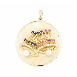 14KT Yellow Gold 0.40ctw Ruby and Sapphire Disc Pendant