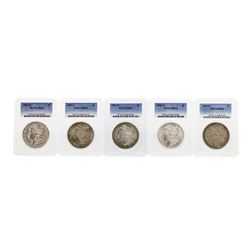 Lot of (5) Assorted Philadelphia Mint $1 Morgan Silver Dollar Coins PCGS MS63