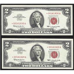 Lot of (2) Consecutive 1963 $2 Legal Tender Notes