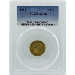 1912 $2 1/2 Indian Head Quarter Eagle Gold Coin PCGS AU58