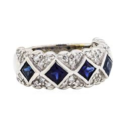 18KT White Gold 1.50ctw Sapphire and Diamond Ring