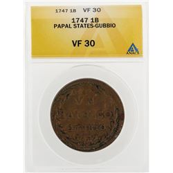 1747 1 Biaocco Papal States Gubbio Coin ANACS VF30