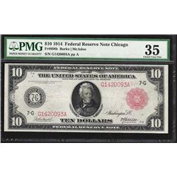 1914 $10 Federal Reserve Note Chicago Fr.898b PMG Choice Very Fine 35