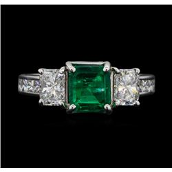 14KT White Gold 1.30ct Emerald and Diamond Ring