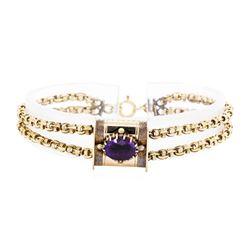 14KT Yellow Gold 2.00ct Amethyst Slide Bracelet