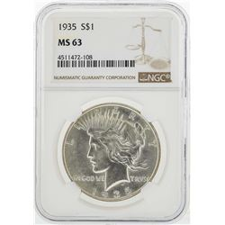 1935 $1 Peace Silver Dollar Coin NGC MS63