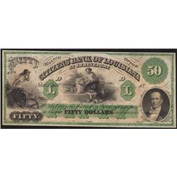 1800's $50 Citizens Bank of Louisiana Obsolete Note