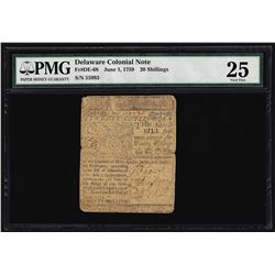 June 1, 1759 Delaware 20 Shillings Ben Franklin Colonial Note PMG Very Fine 25