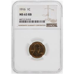 1916 Lincoln Wheat Penny Coin NGC MS63RB