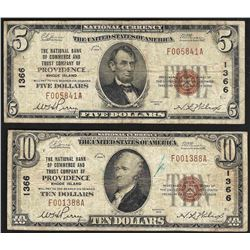 Set of 1929 $5 & $10 Providence Rhode Island National Currency Notes CH# 1366