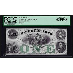 1800's $1 Bank of De Soto Obsolete Bank Note PCGS Choice New 63PPQ