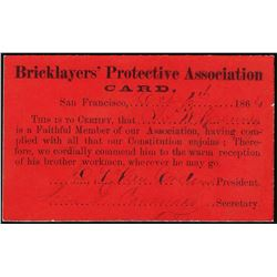 1864 Bricklayers Protection Association Card