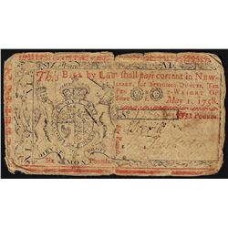 May 1, 1758 New Jersey 6 Pounds Colonial Currency Note